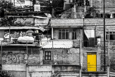 Homes and buildings in a dangerous slum in Mexico City photo