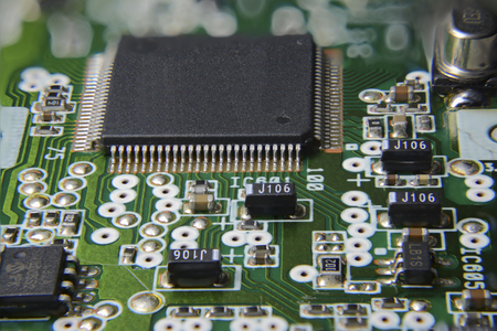 Circuit board with chips and microprocessor photo