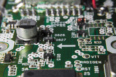 capacitor: Circuit board with chips and capacitor