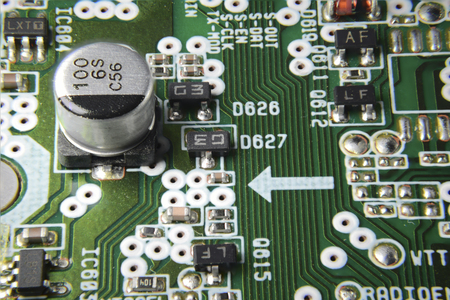 Circuit board with chips and capacitor