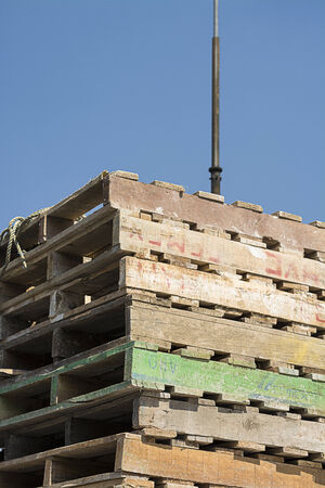 transported: Construction wooden pallets transported on a flatbed truck load Stock Photo