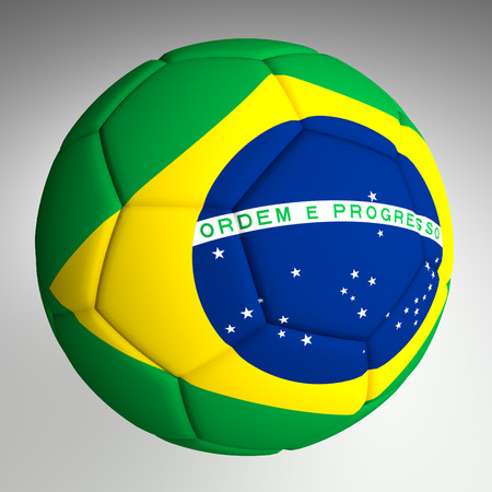 Soccer Ball with Brazil Flag photo