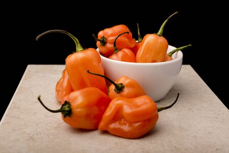 natural food: Approach and details a set of chiles habaneros. Typical of m�rida, yucat�n. is a pepper very spicy and powerful taste. Stock Photo
