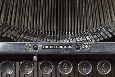 typist: Closeup of old typewriters keypad numbers and typing keys Stock Photo