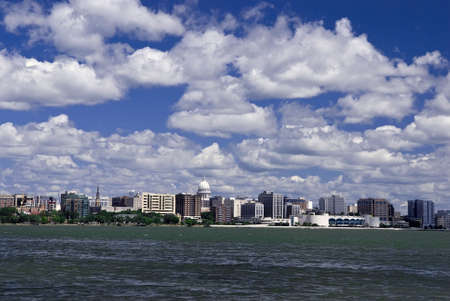isthmus: Madison Capitol and Isthmus skyline across the lake on a sunny summer day