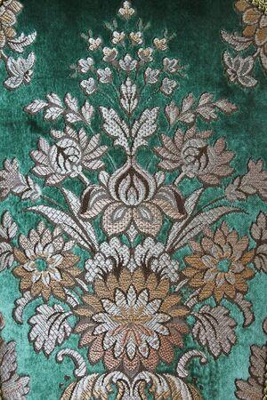 rug texture: Velvet green flower carpet