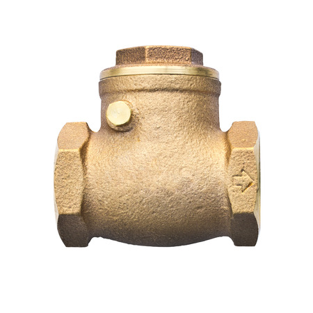 Bronze swing check valve  non return valve  for sanitary, plumbing and cooling system isolated on white  photo