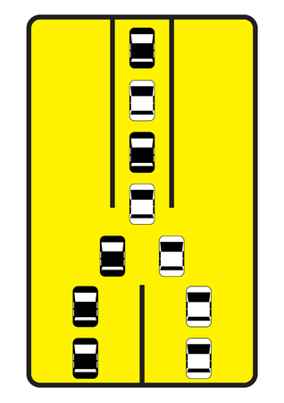 one lane street sign: Traffic sign advise cars to move one by one  Illustration