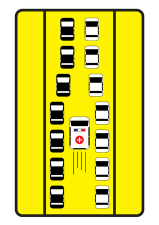 give way: Traffic sign advise cars to give middle way to ambulance. Illustration