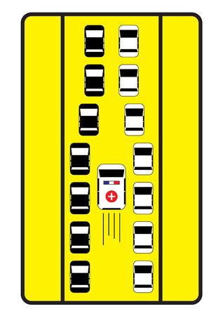 emergency lane: Traffic sign advise cars to give middle way to ambulance. Illustration