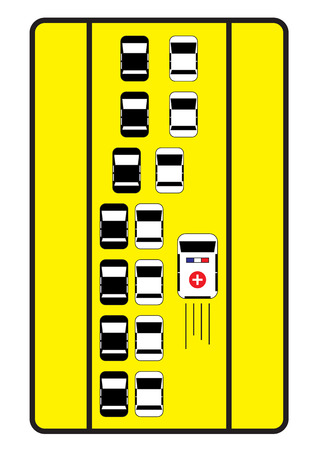 emergency lane: Traffic sign advise cars to give right way to ambulance.
