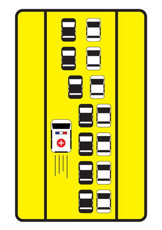 give way: Traffic sign advise cars to give left way to ambulance.