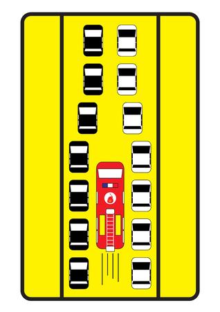 fire engine: Traffico auto segno consigliare di dare corsia centrale al fuoco del motore.