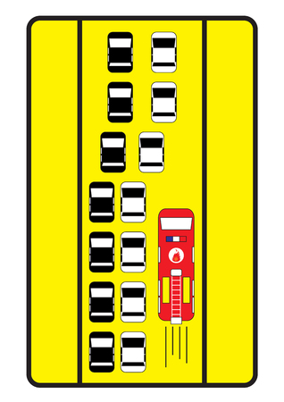 emergency lane: Traffic sign advise cars to give right lane to fire engine.