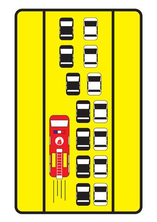 fire engine: Traffico auto segno consigliare a dare corsia di sinistra per sparare motore. Vettoriali