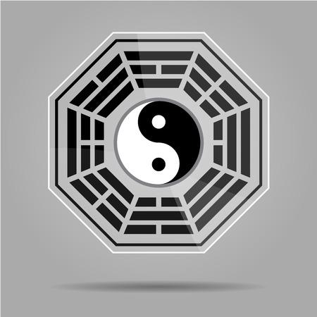 daoism: Bagua Yin Yang symbol on glass material.