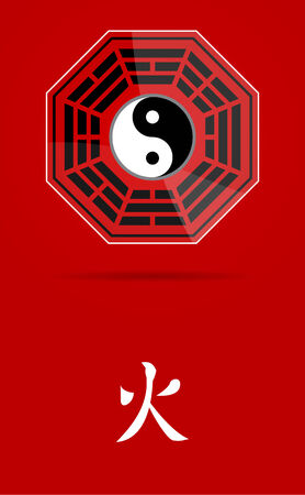 daoism: Bagua Yin Yang symbol on glass material with Fire element.