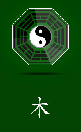 daoism: Bagua Yin Yang symbol on glass material with Wood element. Illustration