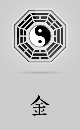 daoism: Bagua Yin Yang symbol on glass material with Metal element. Illustration