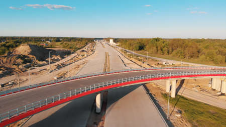 Newly built bridge in Warsaw, aerial. High quality 4k footage