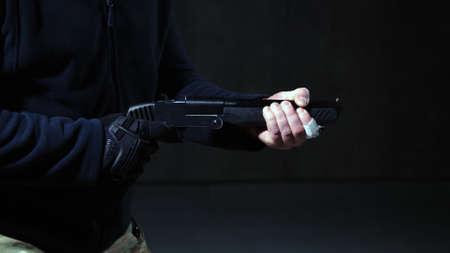 Criminal shoots with his lethal short-barreled shotgun .