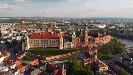 Aerial View of Krakow, Wawel, Royal Castle, Cracow, Poland, Polska. High quality photo