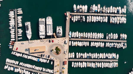 Port de Soller, marina harbor with boats and ships parked in the port Mallorca island, Spain Mediterranean Sea. Imagens