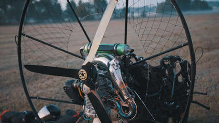 Propelers of a paramotor tandem, close up. High quality photo