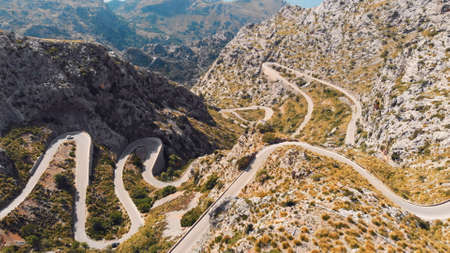Road to Sa Calobra in Serra de Tramuntana - mountains in Mallorca, Spain. High quality photo