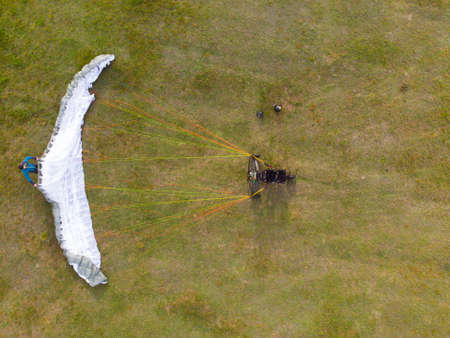 Top view of a paramotor being prepared to start - paragliding. High quality photo