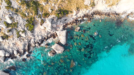 Cala Figuera Beach, Cap Formentor Mallorca, Balearic islands, Spain, aerial high angle shot. High quality photo Imagens