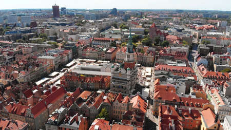 Poznan, Poland Main Square of the old town- aerial view summer. High quality photo