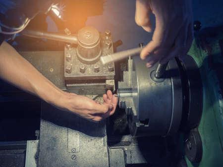 Motion blur on process of lathe machine. Reklamní fotografie