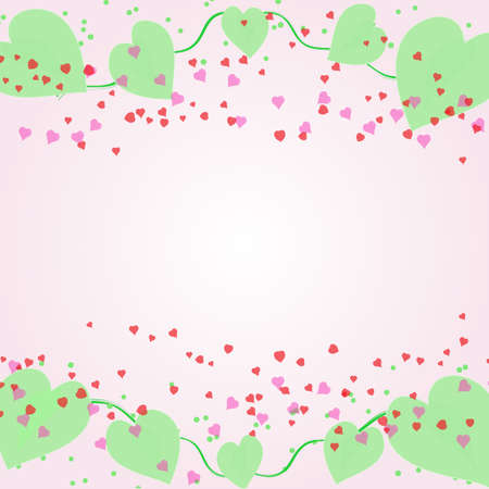 Shape heart and leaves of plant concept valentine day template pattern design.