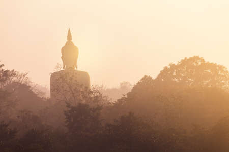 Back view and silhouette statue of Buddha and trees on morning time.