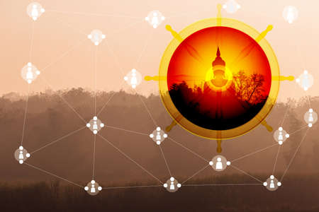 Black silhouette of Buddha on the mountain and forest.In concept evangelism. Reklamní fotografie