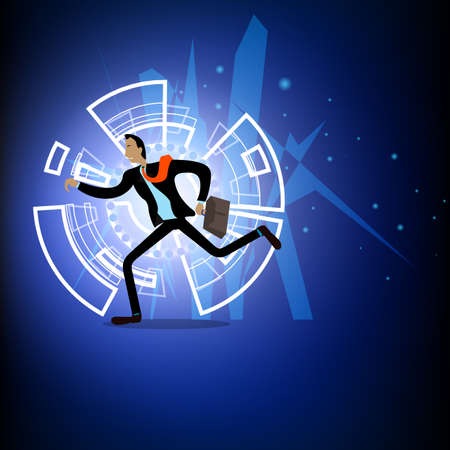 Illustration vector business man is running abstract background.