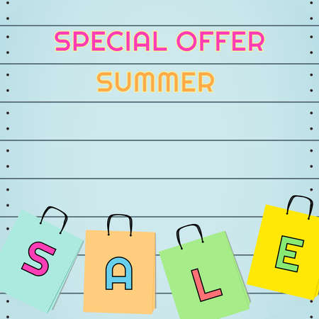 Illustration vector text spacial offer summer sale on wooden plate.In concept shopping background. Ilustrace