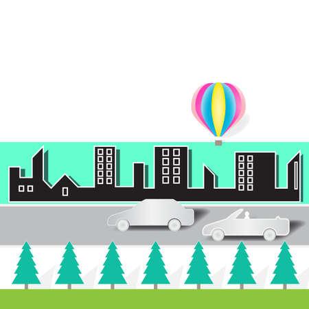 Illustration of cars and city on white background. Ilustrace