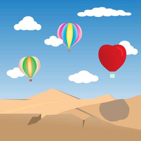 Illustration balloons on the sky over the desert.