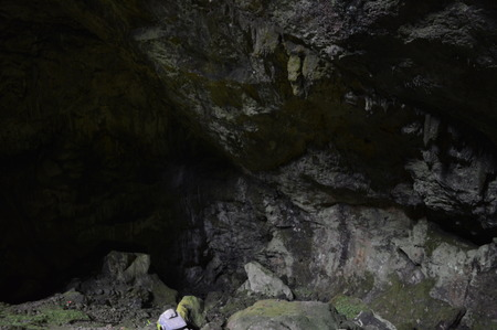 Enter in Dikteon Andron Cave on plateau lasiti Stock Photo