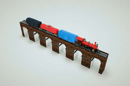 Model of a train with cars on the railway. 3D model of a freight train on a platform. Train on the bridge. Isolated objects on a white background. Archivio Fotografico