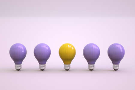 3d light bulbs on a light white isolated background. One burning light bulb among the others. Set of light bulbs stand in a row. Close-up. Archivio Fotografico