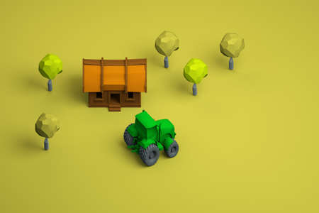 Graphic illustration of a house and a green tractor on a yellow isolated background. Models of a wooden house, trees and a green tractor. Top view. Archivio Fotografico