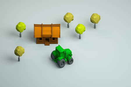 3d illustration of a village house, a green tractor and trees on a white isolated background. Isometric models, top view. Archivio Fotografico
