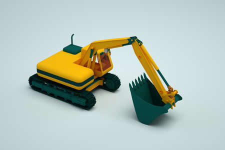 3D yellow excavator stands on a white isolated background. 3D object of the yellow excavator. Heavy construction work machine. Close-up. Side view.