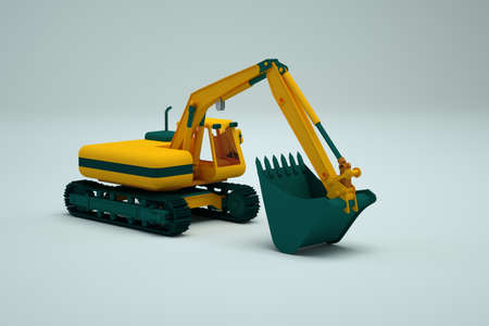 Yellow graphic excavator stands on a white isolated background. 3d object of the yellow excavator. Isometric model. Heavy construction vehicle. Close-up. Side view.