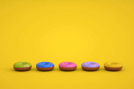 Graphic 3d models of glazed donuts on a yellow isolated background. Models of different colored donuts lying in a row. Round Glazed Donuts. Archivio Fotografico