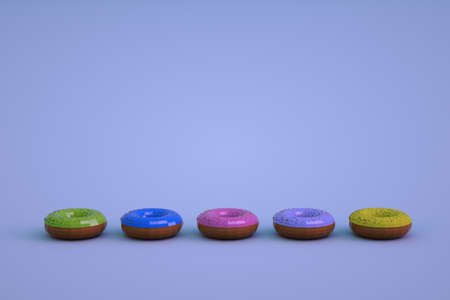 Multi-colored isometric models of glazed donuts on a blue isolated background. Different donuts lying in a row. 3D graphics.