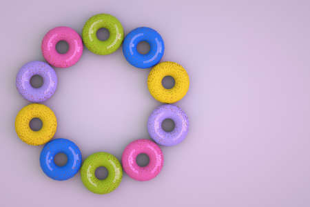 3D objects made of colorful donuts on an isolated pink background. Isometric models of multicolored doughnuts arranged in a circle. Confectionery products, 3D graphics. Close-up.